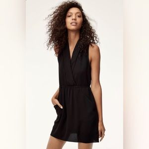 Aritzia Wilfred Sabine Black Tie Back Draped Dress